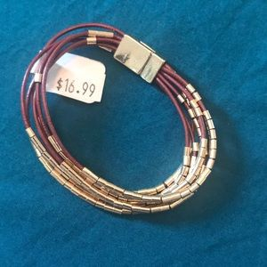 Maroon & Gold Rope Bracelet from LOFT